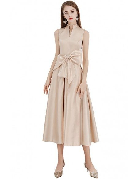 Tea Length Chic Champagne Party Dress With Big Bow