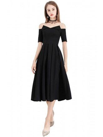 Special Black Chic Off Shouler Party Dress Tea Length Aline