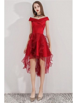 Cute High Low Red Puffy Hoco Dress With Ruffles