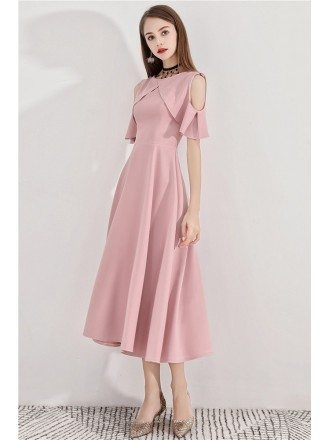 Gorgeous Pink Tea Length Semi Formal Dress Aline