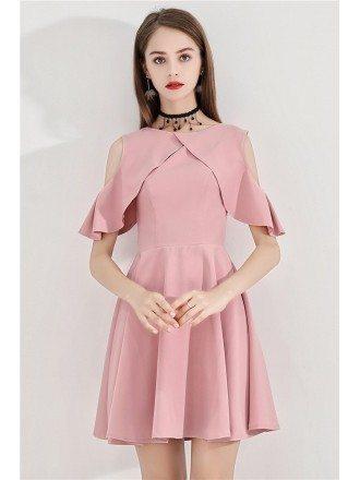 Pink Aline Flare Short Party Dress With Cold Shoulder