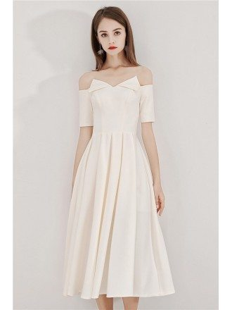 Light Champagne Tea Length Party Dress With Off Shoulder Sleeves