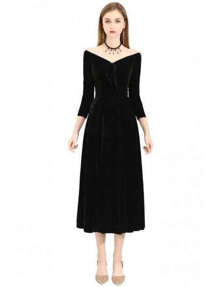 Gorgeous Off Shoulder Vneck Tea Length Dress With 3/4 Sleeves