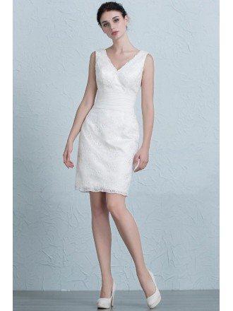 Simple Sheath V-Neck Short Lace Wedding Dress