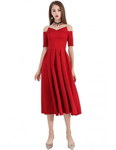 Special Red Pleated Aline Tea Length Party Dress With Off Shoulder Sleeves