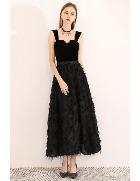Special Ankle Length Black Party Dress With Straps