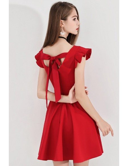 Little Red Flare Short Hoco Dress With Cap Sleeves