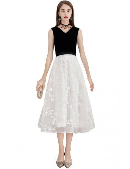 Black And White Lace Semi Formal Dress Tea Length Sleeveless