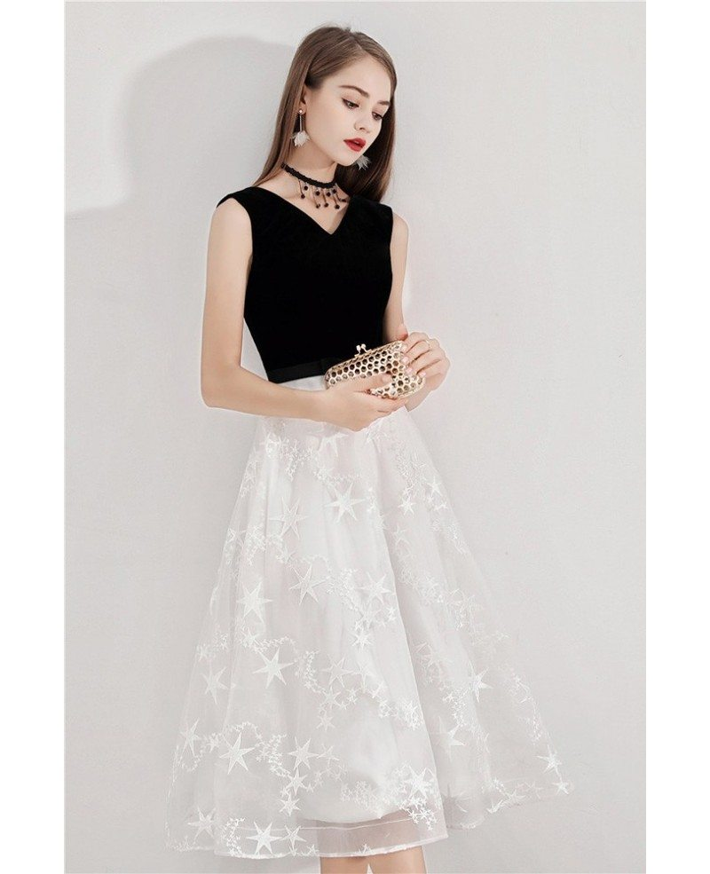 Black And White Lace Semi Formal Dress