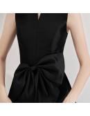 Vintage Black High Collar Party Dress Tea Length Sleeveless