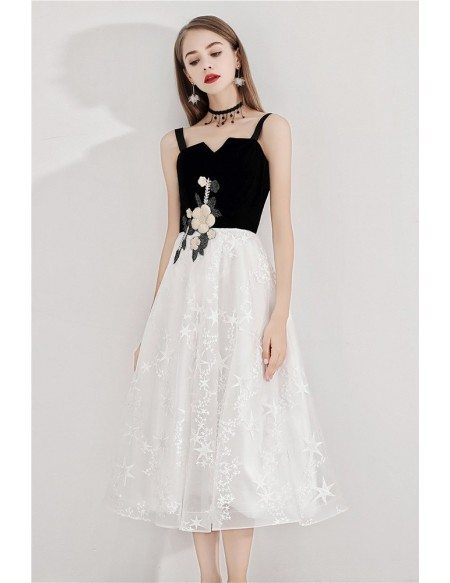 Black And White Star Lace Aline Party Dress With Straps