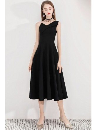 Simple Black Tea Length Party Dress Retro One Shoulder
