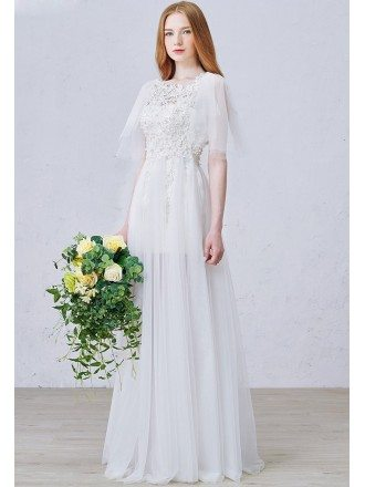 Romantic A-Line Scoop Neck Floor-Length Tulle Wedding Dress With Appliques Lace