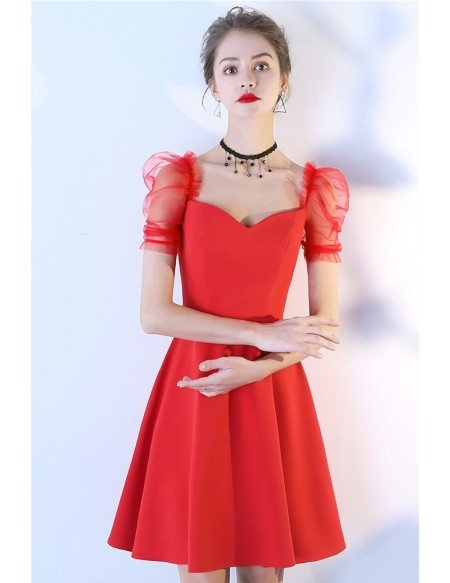 Little Red Aline Party Dress Short With Bubble Sleeves