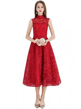 Red Flower Lace Tea Length Party Dress With High Neck