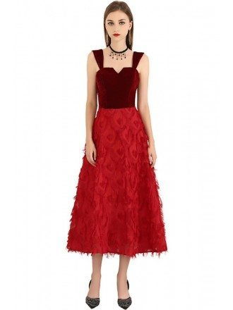 Red Two Colors Tea Length Party Dress With Straps