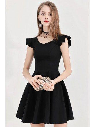 Super Cute Little Black Flare Party Dress With Straps In Back