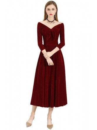 Retro Velvet Burgundy Midi Party Dress With Sleeves