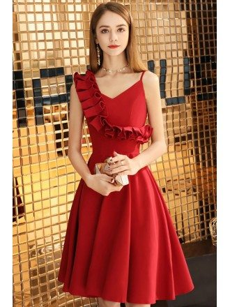 Little Red Chic Short Aline Semi Formal Dress With Asymmetrical Straps