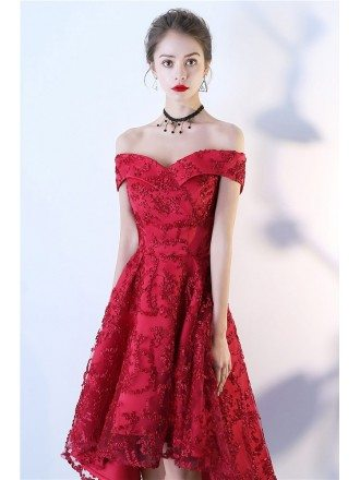 Red Lace High Low Aline Party Dress Off Shoulder