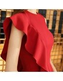 Little Red Chic One Sleeve Short Party Dress