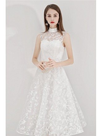 Elegant White Lace Party Dress Tea Length Sleeveless