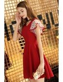Cute Aline Red Hoco Dress Vneck With Dotted Sleeves