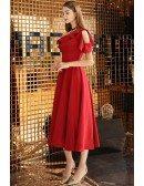 Semi Formal Red Tea Length Party Dress Aline