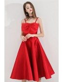 Red Big Bow Tea Length Party Dress With Straps