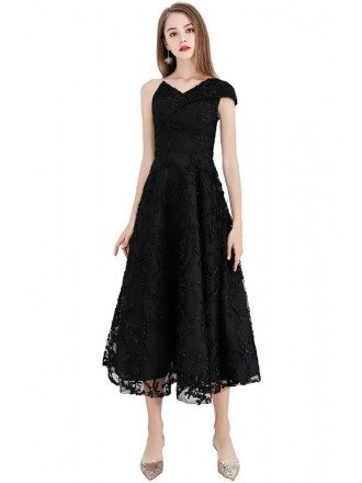 Chic Black Lace Aline Party Dress With One Shoulder