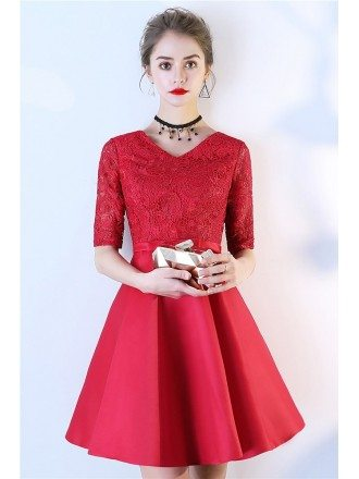 Modest Red Lace Top Party Dress Aline With Short Sleeves