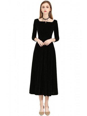 Retro Simple Black Tea Length Dress With 3/4 Sleeves