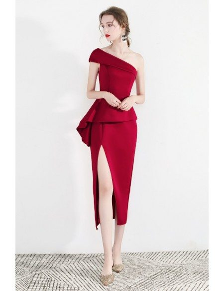 Formal Red One Shoulder Bodycon Party Dress With Side Slit