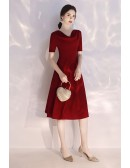 Simple Burgundy Ruched Neckline Slim Party Dress With Short Sleeves