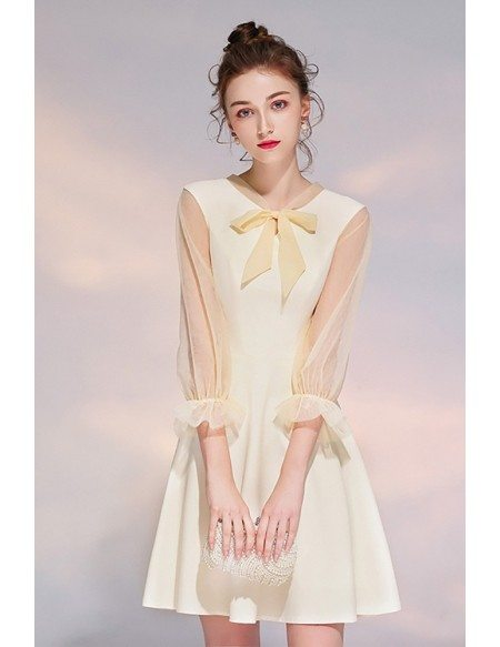 Romantic Bow Knot Champagne Short Party Dress With Sheer Sleeves