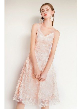 Nude Pink Beaded Lace Knee Length Party Dress With Spaghetti Straps