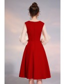 Pleated Vneck Graceful Party Dress With Bubble Sleeves