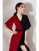 Black And Red Color Blocks Classy Party Dress With Sleeves