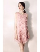 Cute Pink Round Neck Short Party Dress Semi Formal