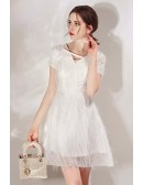 White Lace Sequin Short Dress With Sleeves For Parties