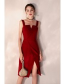 Slim Fit Burgundy Little Red Party Dress With Side Slit