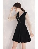 Special V-neck Collar Flare Black Party Dress Short With Sleeves
