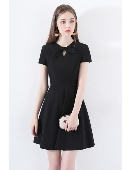 Retro Chic Short Sleeve Little Black Dress With Bow Knot