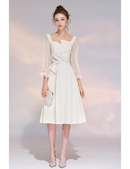 White 3/4 Sleeves Aline Party Dress With Sheer Sleeves