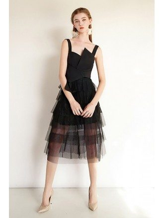 Black Tulle Chic Short Party Dress With Straps