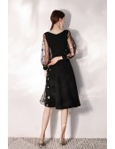 Slim Black Aline Party Dress With Stars Bubble Sleeves