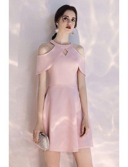 Pretty Pink Short Halter Party Dress Aline Cold Shoulder