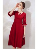 French Style Burgundy Knee Length Party Dress With Bubble Sleeves