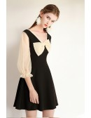 Retro French Chic Short Party Dress With Big Bow Sheer Sleeves