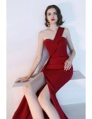 Slim Long Red Sexy Side Slit Party Dress One Shoulder
